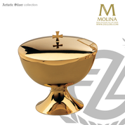 Large covered ciborium stands 6 and 1 quarter inches high with 500 host capacity with 24 karat gold plate finish made in spain by artistic silver AS292701CB0GP