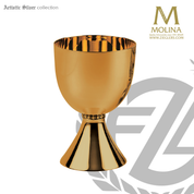 24 ounce chalice measures 7 and 1 half inches high with 24 karat gold plate finish made in spain by artistic silver AS292705