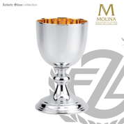 6 ounce small chalice measures 4 and 5 eighths inches high with high polish silver plate finish made in spain by artistic silver AS1800