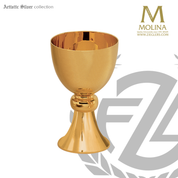 12 ounce communion cup measures 5 and 3 quarters inches high with 24 karat gold plate finish made in spain by artistic silver AS4021SCGP