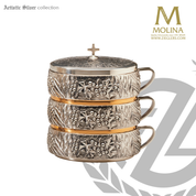 set of 3 stacking ciborium with lid with wheat and grape motif measures 6 and 1 half inches in diameter with 24 karat gold plate finish made in spain by artistic silver AS4012SCBSET