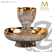 grape and wheat intinction set with 8 ounce chalice and55 host bowl with silver and gold plate finish in spain by artistic silver AS40074008