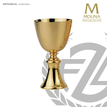 14 ounce chalice stands 7 and 1 eighth inches high with gold plate finish made in spain by artistic silver AS5285