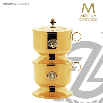 stacking ciborium set includes 2 ciboria with 1 lid holds up to 2000 host from Molina of Spain AS5250