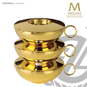 modern style stacking ciborium set includes 3 ciboria with covers with 24 karat gold plate finish AS5300SETSCB