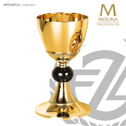 17 ounce chalice in with black node stands 7 and 7 eighths inches high comes with paten made in spain by Molina AS5420