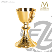 14 ounce chalice with net pattern stands 7 and 7 eighths inches high comes with paten made in spain by Molina AS5425