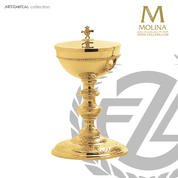 covered ciborium stands 8 and 5 eighths inches high with 250 host capacity has gold plate finish made in Spain by Molina AS5236CBGP