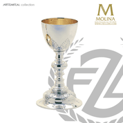 14 ounce chalice in silver plate finish stands 9 and 1 quarter inches high comes with paten made in Spain by Molina AS5190