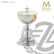 leaf covered ciborium stands 8 and 1 quarter inches high with 250 host capacity has silver plate finish made in Spain by Molina AS5191CBSP