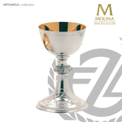 15 ounce chalice in silver plate finish stands 8 and 1 half inches high comes with paten made in Spain by Molina AS5210