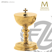 Evangelists covered ciborium stands 8 inches high with 250 host capacity has gold plate finish made in Spain by Molina AS5216CBGP