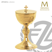 Grape and wheat covered ciborium stands 9 inches high with 300 host capacity has gold plate finish made in Spain by Molina AS5196CBGP