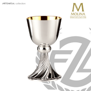 chalice in with swirl design base stands 7 and 1 eighths inches high comes with paten made in Spain by Molina AS5360
