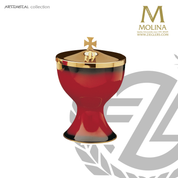 red enamel covered ciborium stands 5 and 7 eighths inches high will hold 200 host with combination silver and gold finish Molina AS5031CBGP