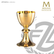 chi rho chalice stands 7 and 1 quarter inches high with textured 24 karat gold plate finish made in spain by artistic silver AS5330cgp