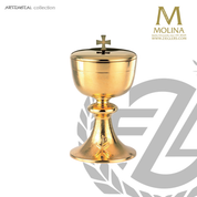 Chi Rho covered ciborium stands 7-1/2 inches high with 4-1/8 inch bowl diameter in gold plate finish Spain by Molina AS5331CBGP
