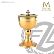 Cross covered ciborium stands 7 and 1 half inches high with gold plate finish made in Spain by Molina AS5306CBGP