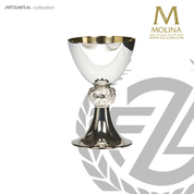 stainless steel chalice stands 7 and 1 quarter inches high with ornate accent node made in spain by artistic silver AS5365CSTSGL
