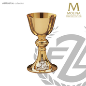 12 ounce chalice with font of life emblem  stands 7 and 1 half  inches high comes with paten made in Spain by Molina AS5120mcgp