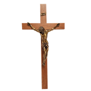 Church Crucifix Italian Corpus made from Resin on Oak Cross Available In 32 Or 48 inches Corpus in Bronze or Silver finish Made in USA XXCRU32