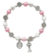 First Holy Communion Bracelet with faux pearl heart and round beads and metal flower beads stretch to fit MABR743C