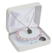 Miraculous Medal bracelet and Pendant Set Pink Ceramic Bead bracelet and 16 inch rhodiaum chain in Gift Box MAPND2W