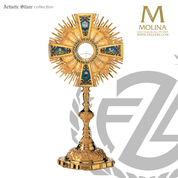 baroque style  monstrance stands 27 and 1 half inches high with engraved apostles and cloisonné images silver with 24 karat gold plate finish made in spain by Molina AS7231