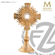 Tassilo monstrance stands 25 inches tall with two tone finish made in spain by molina AS7274