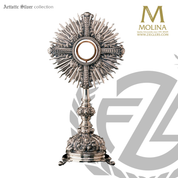 Cross monstrance stands 21 and 3 quarters inches tall with delicate metal work made in spain by molina AS7289