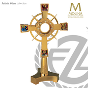 4 Evangelists monstrance stands available in 2 sizes and finishes with clear accent stones made in spain by molina AS7226