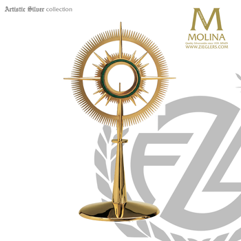 modern style monstrance available in 2 sizes and 2 finish choices with green enamel halo accent made in spain by molina AS7252