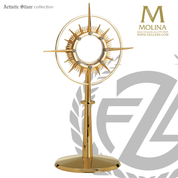 Modern Style monstrance stands 14 inches tall with zirconite accents made in spain by molina AS7284