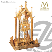 Baldachin stands 42 inches tall with engraving throughout with 24 karat gold plate finish made in spain by molina AS941