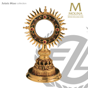 Last Supper ostensorium stands 8 and 7 eighths inches tall with cloisonné accents made in spain by molina AS2260GP