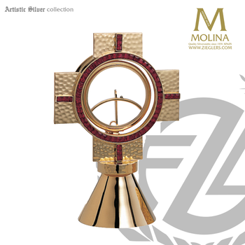 ostensorium stands 7 and 1 quarter inches tall with choice of stone accents made in spain by molina AS258