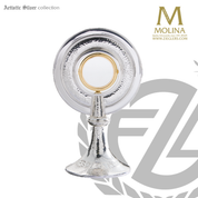 Contemporary ostensorium stands 9 and 1 half inches tall with hammered finish made in spain by molina AS4950SP