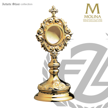 Baroque style reliquary stands 7 and 7 eighths inches tall with relic box made in spain by molina AS3RQGP