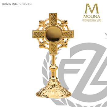 reliquary stands 7 an 1 half inches tall with cross and fleur de lis accents made in spain by molina AS789RQGP