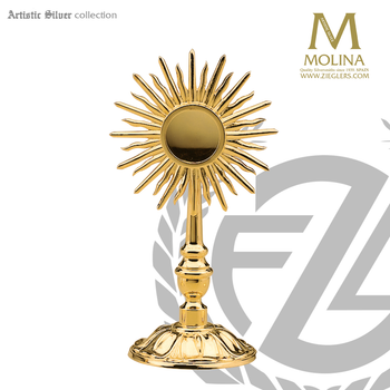 reliquary stands 7 and 3 quarters inches tall with sunburst design made in spain by molina AS790RQGP