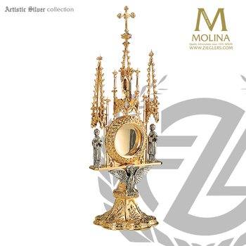 holy spirit reliquary stands 12 and 3 eighths inches tall with dove and angels in gothic style made in spain by molina AS796RQGP
