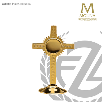 cross and ray reliquary stands 6 and 5 eighths inches tall with gold finish made in spain by molina AS788RQGP