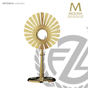 Sunburst monstrance stands 17 and 3 quarters inches tall with two tone finish made in spain by molina AS5538MGSP