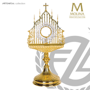 gothic style monstrance stands 21 and 3 quarters inches tall with open work filigree made in spain by molina AS5580MGSP