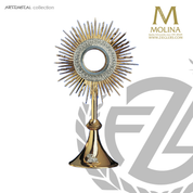 Agnus Dei monstrance stands 17 and 3 quarters inches tall with lamb of god emblem made in spain by molina AS5540MGSP