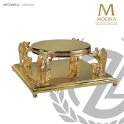 Angel tabor stands 6 inches high with 4 kneeling angels and gold plate finish made in spain by Molina AS5550