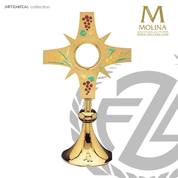 Grapes & Wheat monstrance stands 16 and 1 half inches tall with optional enamel accents made in spain by molina AS5504M