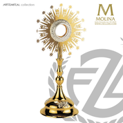 Ray monstrance stands 25 inches tall with stars and filigree halo made in spain by molina AS5583MGP
