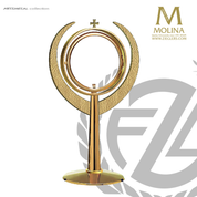 modern ostensorium stands 17 and 3 quarters inches tall with large luna made in spain by molina AS7300OGP