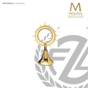 Sun Ray ostensorium stands 7 and 5 eighths inches tall with 24 karat gold plate finish made in spain by molina AS5505OGP
